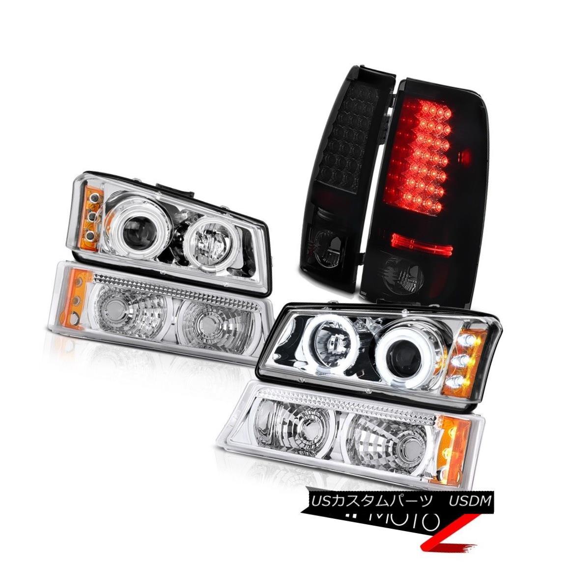 テールライト 03-06 Chevy Silverado CCFL Chrome Halo Headlight Euro Signal Bright LED Taillamp 03-06 Chevy Silverado CCFL Chrome HaloヘッドライトユーロシグナルブライトLEDランプ