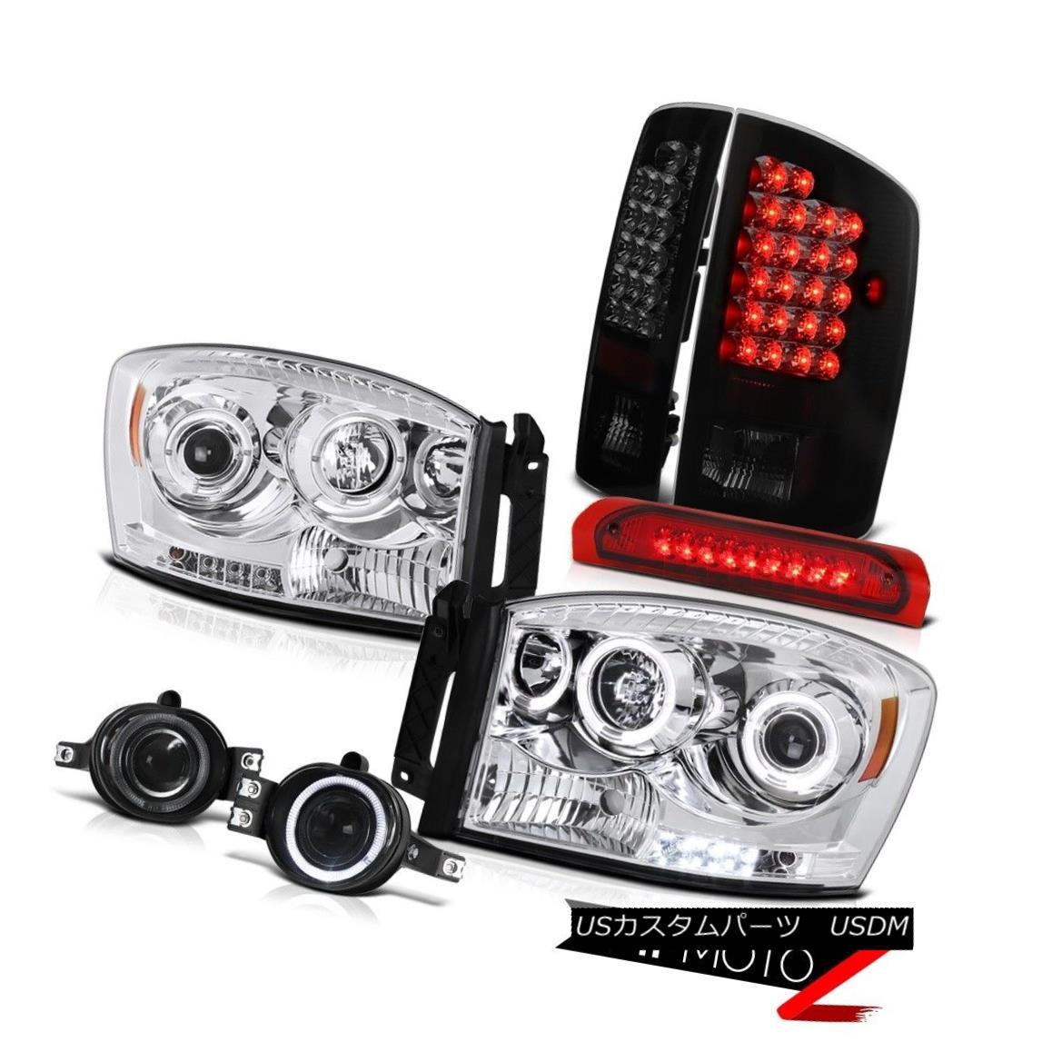 テールライト 06 Dodge Ram Mega Cab Halo Headlight+LED Tail Lamp+3rd Stop Lights+Fog <COOLEST> 06ドッジ・ラム・メガ・キャブ・ハローヘッドライト+ LEDテールランプ+第3ストップライト+フォグ&lt; COOLEST&gt;