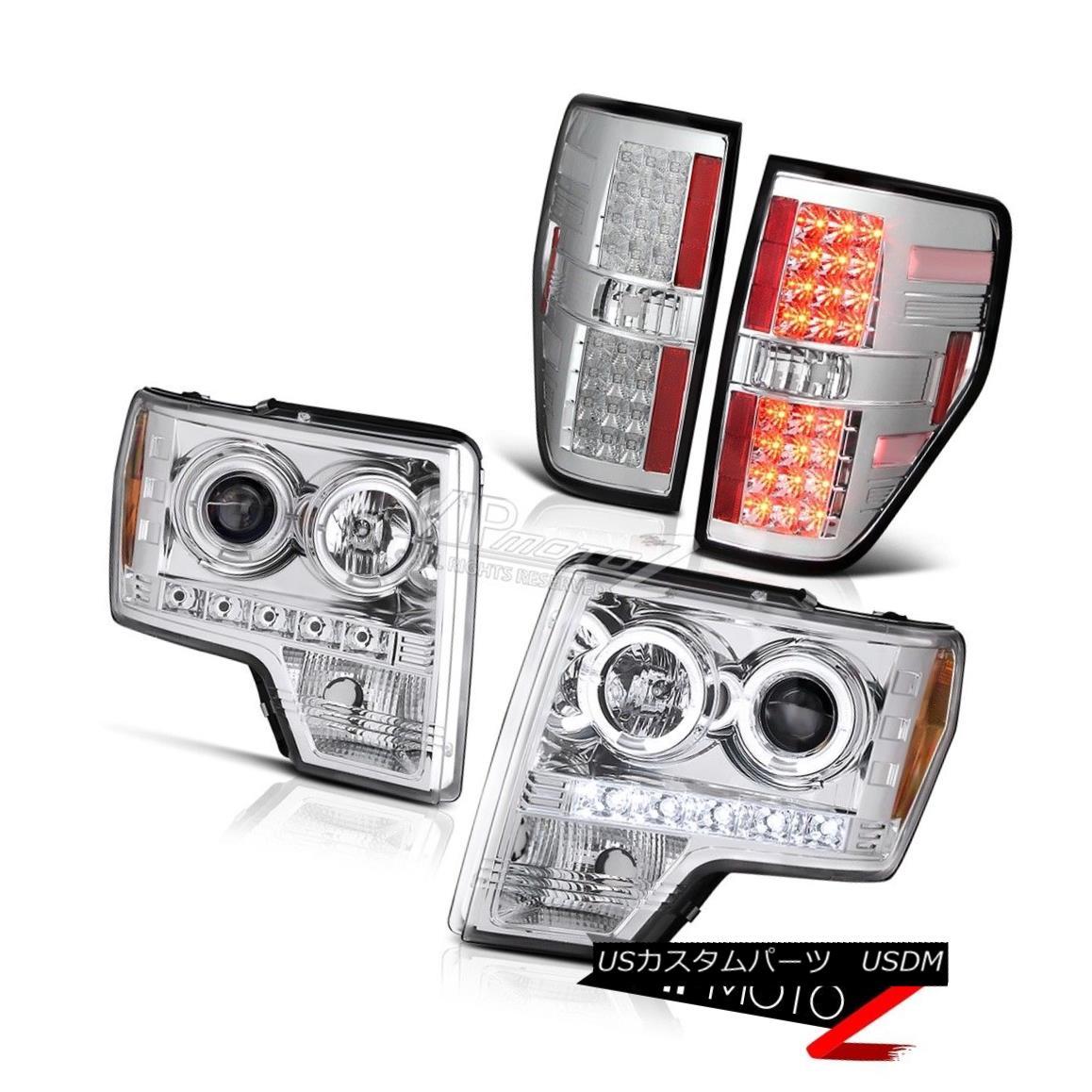 テールライト Ford F150 2009-2014 HaLo Projector Crystal Clear Headlight+Chrome LED Tail Light フォードF150 2009-2014ハロープロジェクタークリスタルクリアヘッドライト+クロ me LEDテールライト
