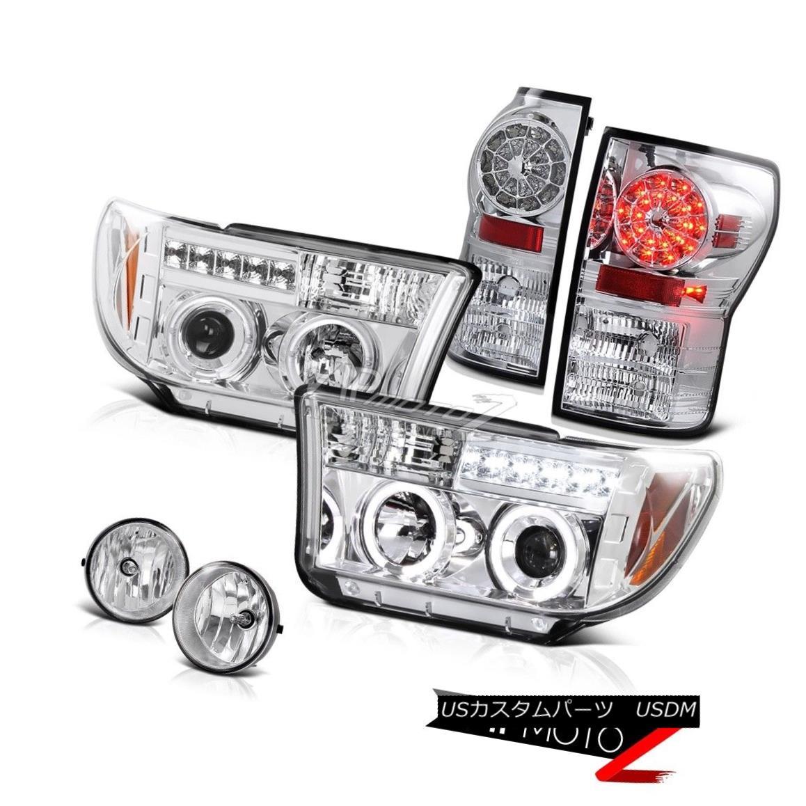 テールライト Toyota 07-2013 TundraChrome Projector Halo Headlamp+Led Tail Light+Fog Lamp トヨタ07-2013トンドラクロームプロジェクターハローヘッドランプ+ Ledテールライト+フォグランプ