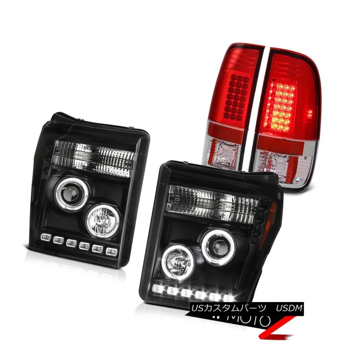 テールライト 11-16 F250 Turobdiesel Tail Brake Lamps Infinity Black Headlamps SMD Halo Rim 11-16 F250ターボディーゼルテールブレーキランプインフィニティブラックヘッドランプSMD Halo Rim