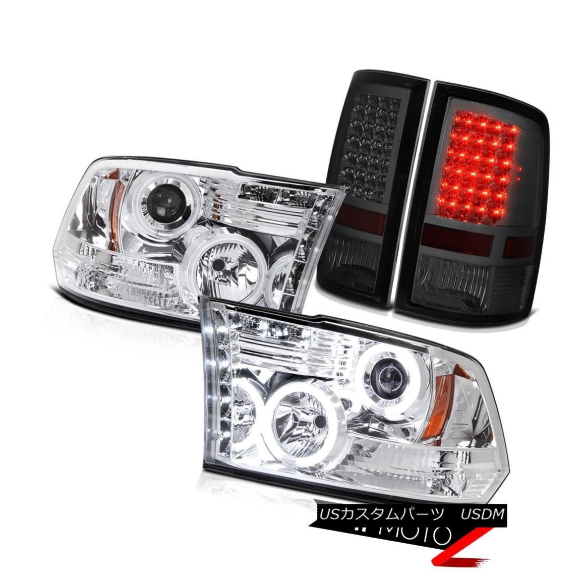 テールライト CCFL DRL Halo Projector Headlights LED Smoke Rear Brake Lamp 2009-2018 Dodge Ram CCFL DRLハロープロジェクターヘッドライトLEDスモークリアブレーキランプ2009-2018 Dodge Ram