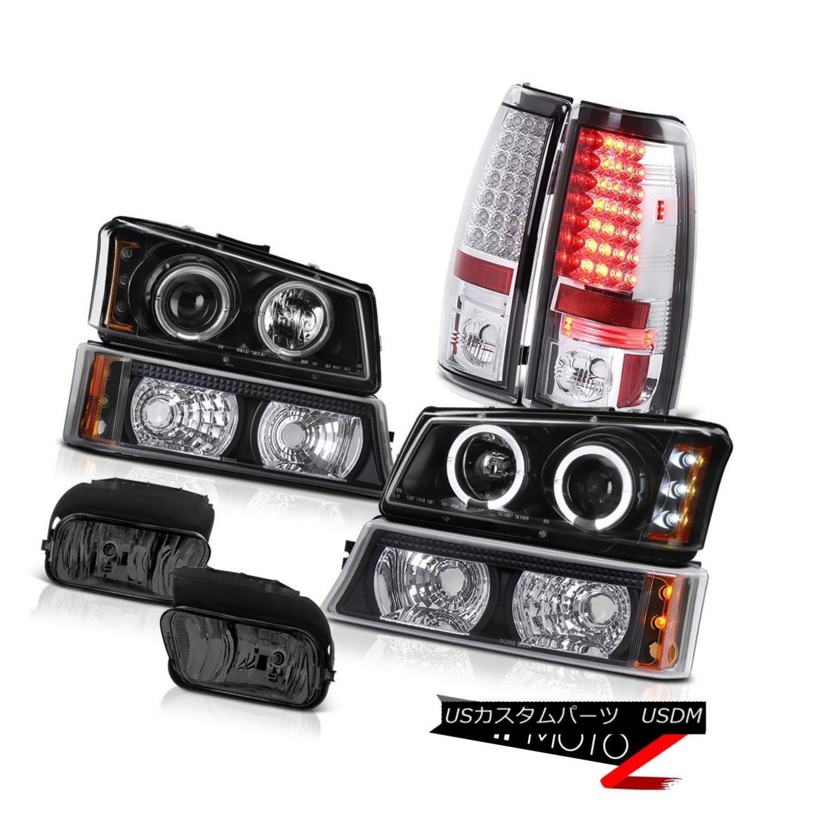 テールライト 03-06 Silverado 1500 Dual Angle Eye Headlights Bumper LED Tail Lights Fog Lights 03-06 Silverado 1500デュアルエンジェルアイヘッドライトバンパーLEDテールライトフォグライト