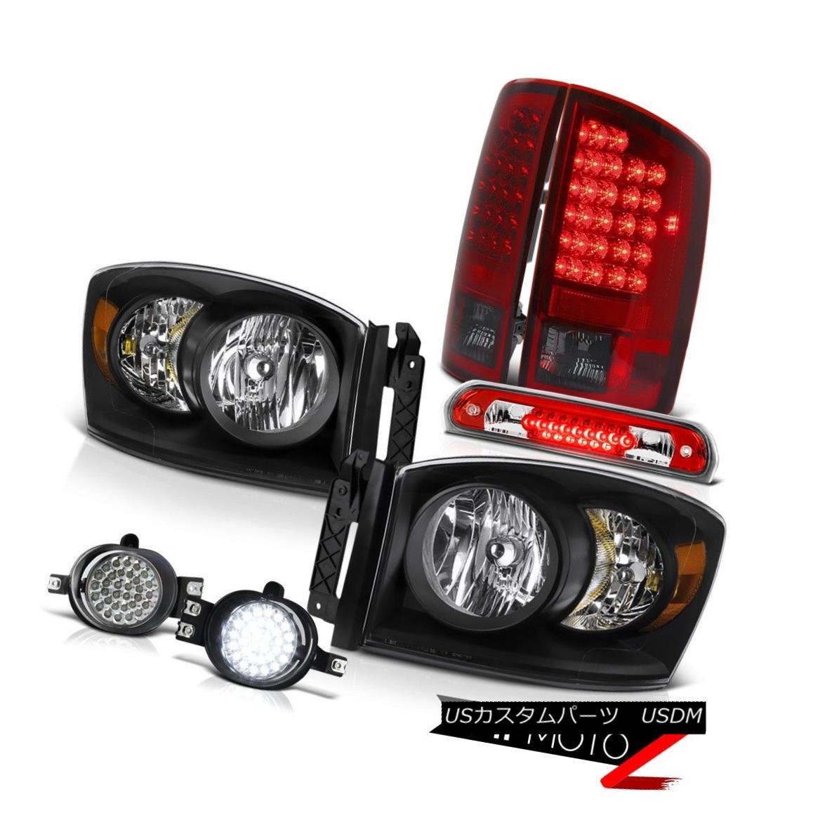 テールライト 2007-2008 Dodge Ram 1500 Black Headlights SMD LED Brake Lamp D.R.L Fog Red Third 2007-2008 Dodge Ram 1500ブラックヘッドライトSMD LEDブレーキランプD.R.L Fog Red Third