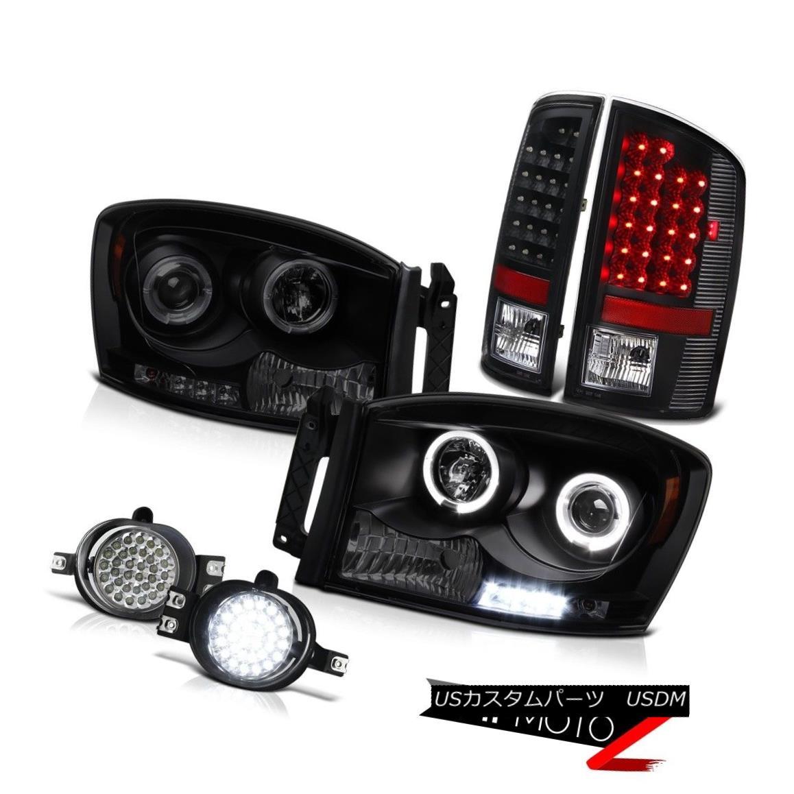 テールライト Black Smoke Angel Eye Headlight LED Tail Lamp Bumper Foglight Ram 5.9L SLT 07 08 ブラックスモークエンジェルアイヘッドライトLEDテールランプバンパーFoglight Ram 5.9L SLT 07 08