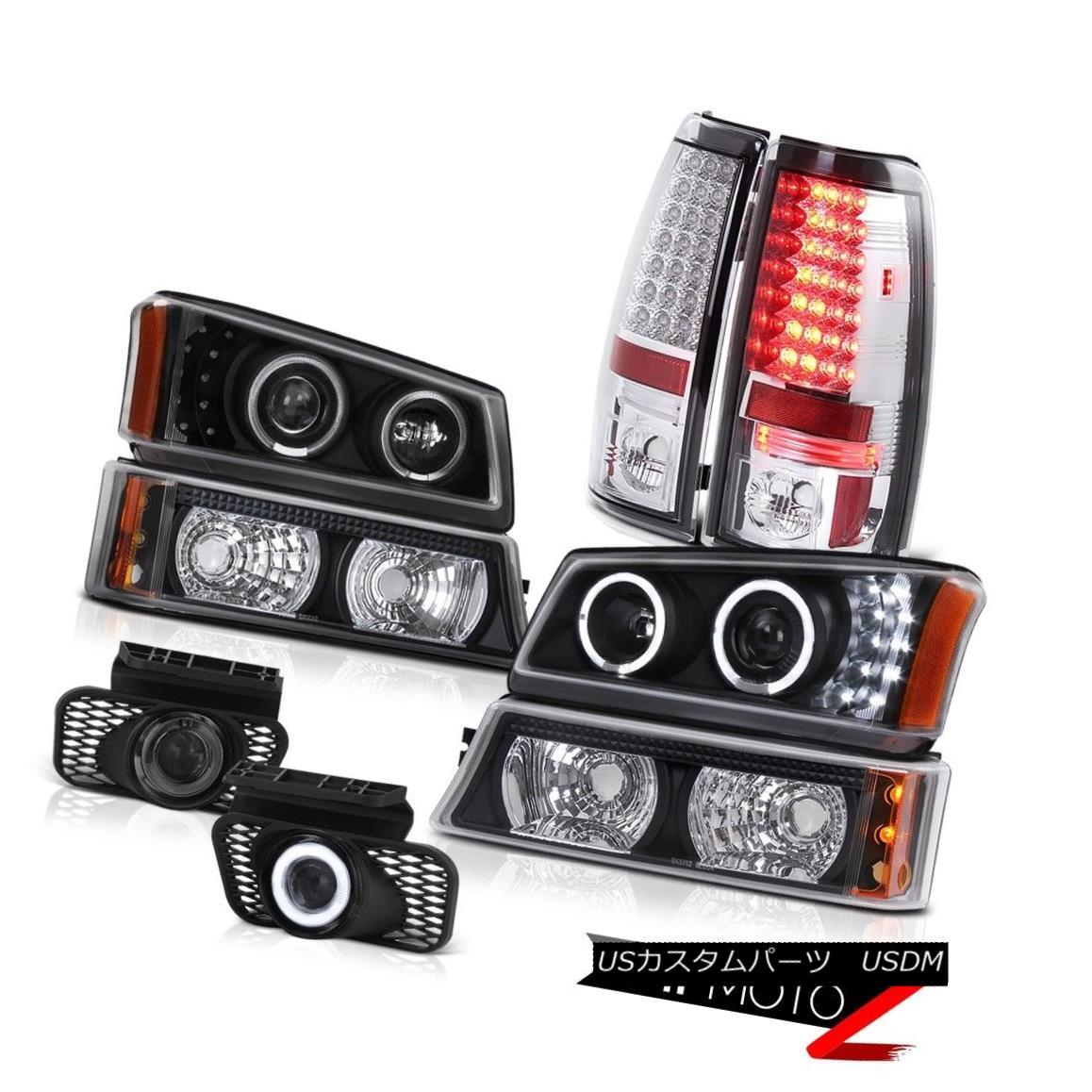 テールライト Black Angel Eye Headlight Parking LED Taillights Foglamps 03-06 Silverado 3500HD ブラックエンジェルアイヘッドライトパーキングLEDテールライトフォグランプ03-06 Silverado 3500HD