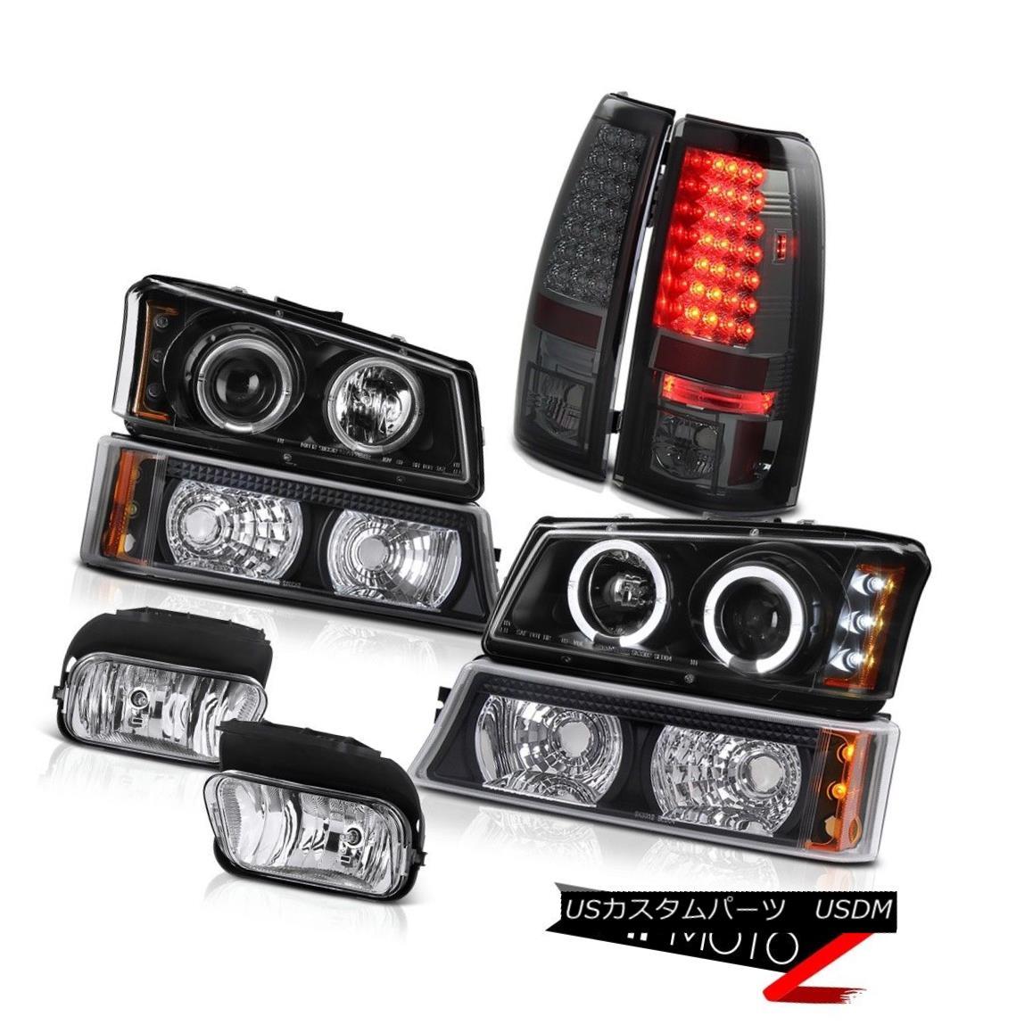 テールライト Angel Eye Halo Headlights LED Brake Tail Light Driving Fog 03-06 Chevy Silverado エンジェルアイヘイローヘッドライトLEDブレーキテールライトドライビングフォグ03-06 Chevy Silverado