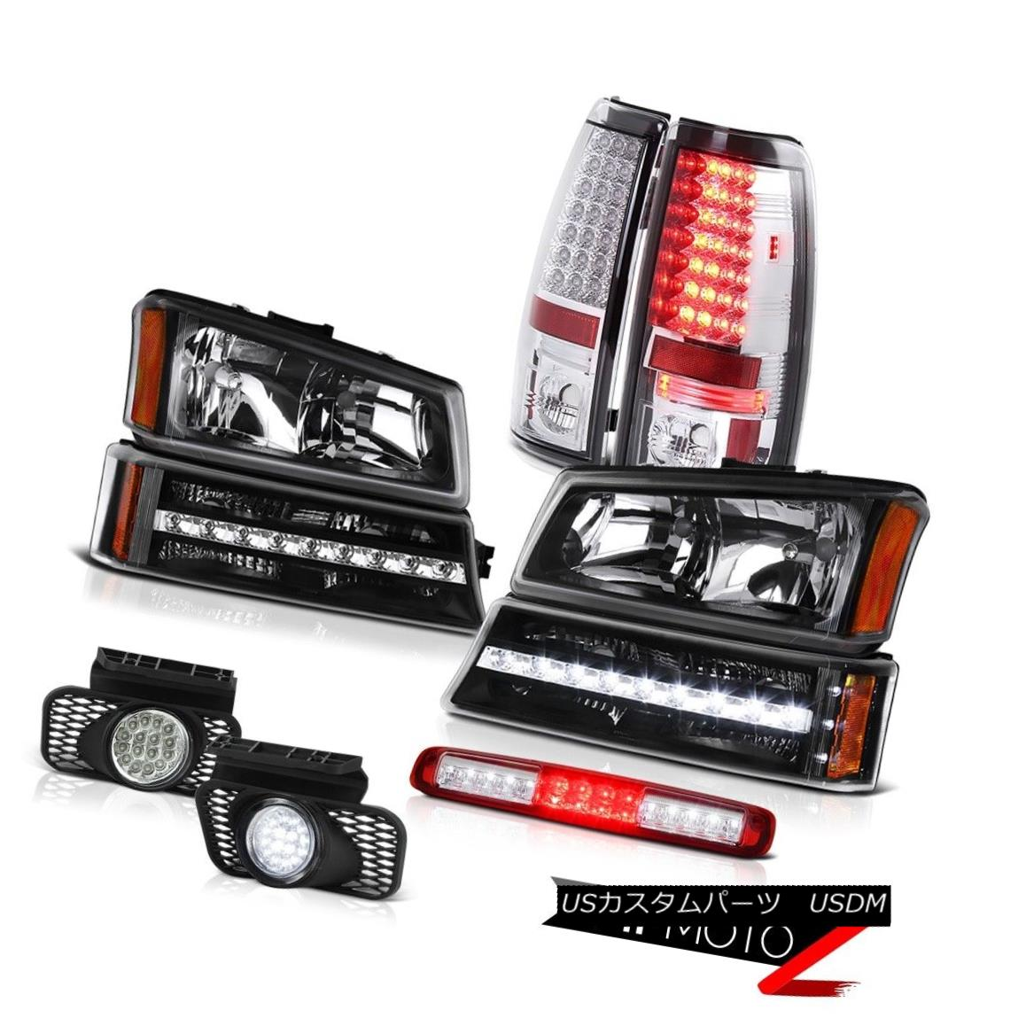 テールライト 03-06 Silverado Red Roof Brake Light Black Headlights Fog Lamps Signal Taillamps 03-06シルバラードレッドルーフブレーキライトブラックヘッドライトフォグランプシグナルタイルランプ