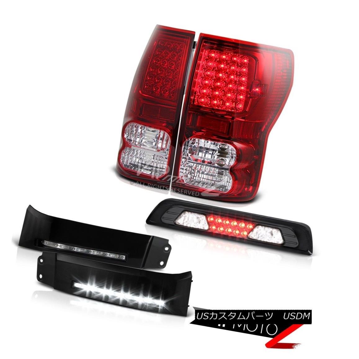 テールライト 07-13 Toyota Tundra SR5 DRL Strip Dark Smoke Third Brake Lamp Rear Lights LED 07-13トヨタツンドラSR5 DRLストリップダークスモークサードブレーキランプリアライトLED