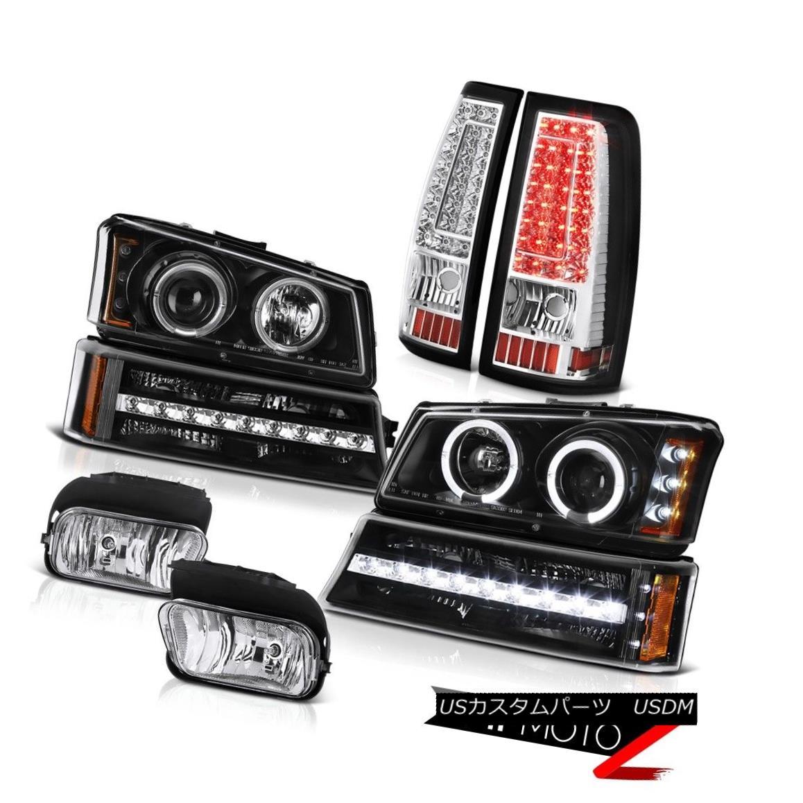 テールライト 03-06 Silverado Chrome Fog Lights Tail Brake Lamps Black Turn Signal Headlamps 03-06 Silveradoクロームフォグライトテールブレーキランプブラックターンシグナルヘッドランプ