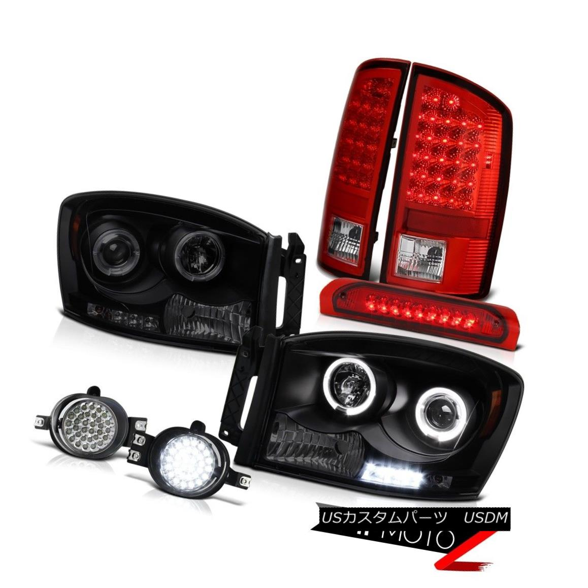 テールライト Sinister Black Headlight Halo LED Tail Lights Foglight Third Brake Ram 2007 2008 Sinister BlackヘッドライトHalo LEDテールライトFoglight Third Brake Ram 2007 2007
