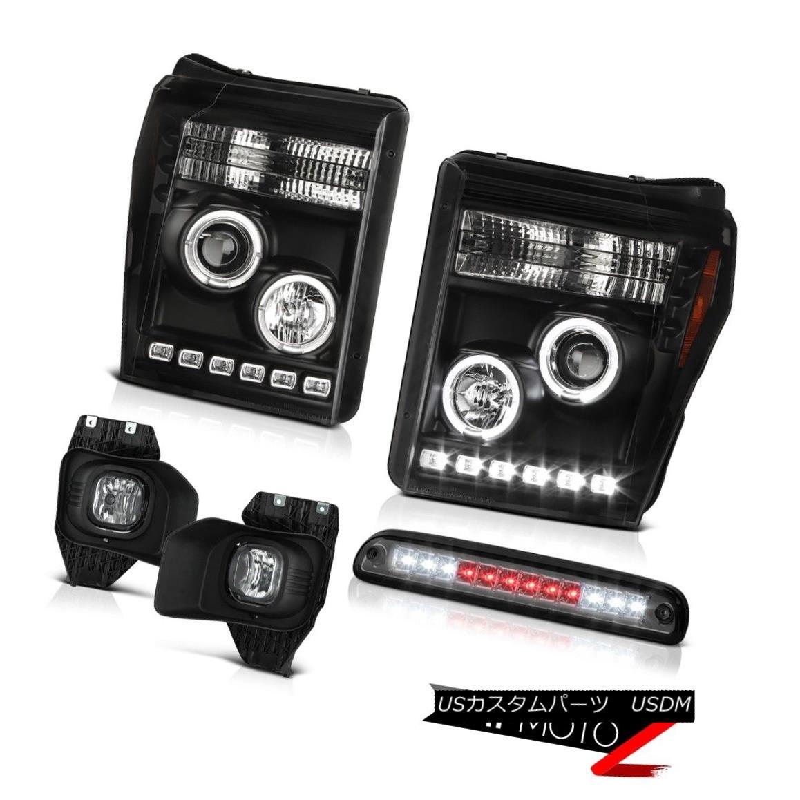 テールライト 11 12 13 14 15 16 F250 Xlt Smoked High Stop Lamp Foglights Matte Black Headlamps 11 12 13 14 15 16 F250 Xltスモークハイストップランプフォグライトマットブラックヘッドランプ