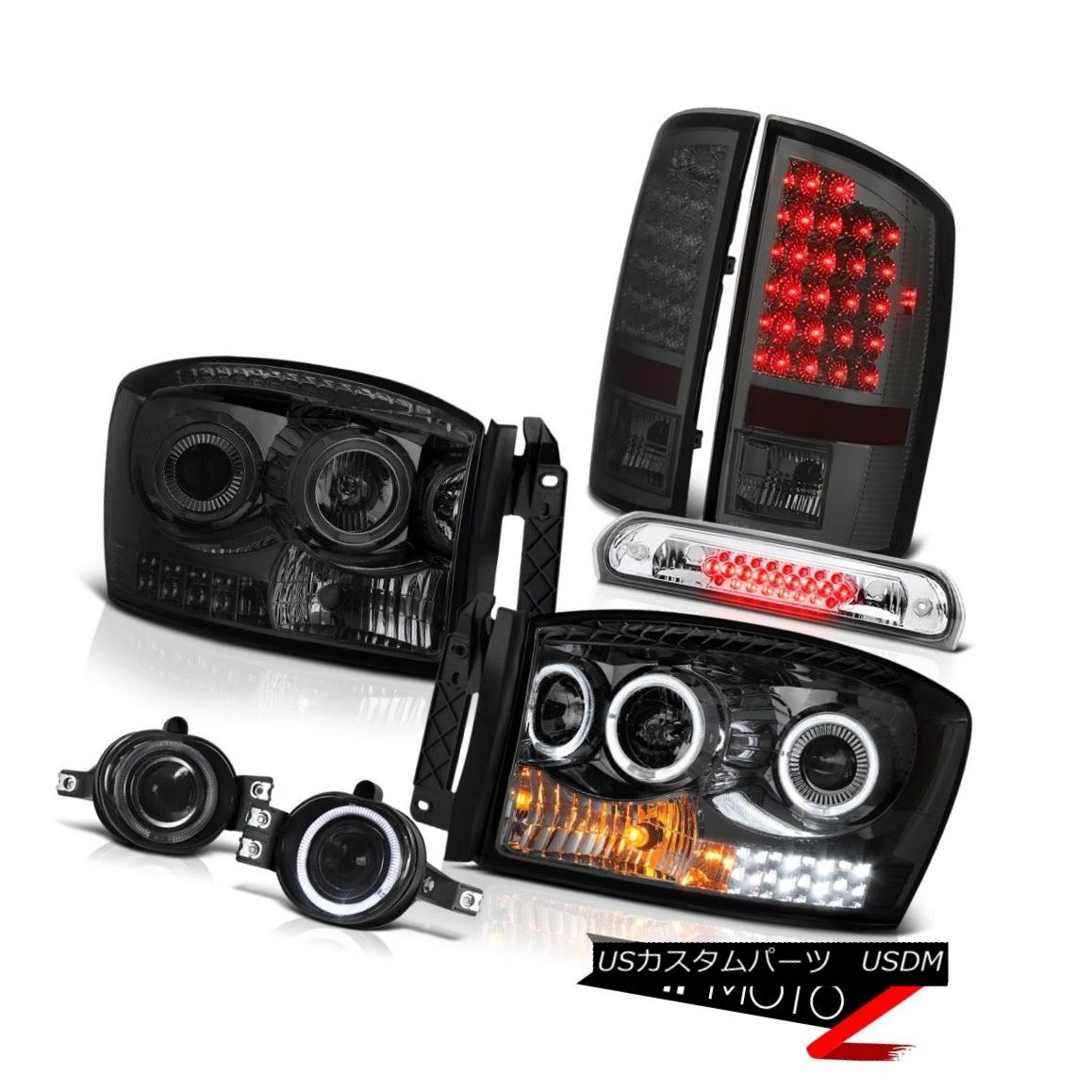 テールライト 07-08 Dodge Ram 1500 5.9L Headlights Fog Lights Roof Brake Lamp Tail Dual Halo 07-08ダッジラム1500 5.9Lヘッドライトフォグライトルーフブレーキランプテールデュアルヘイロー