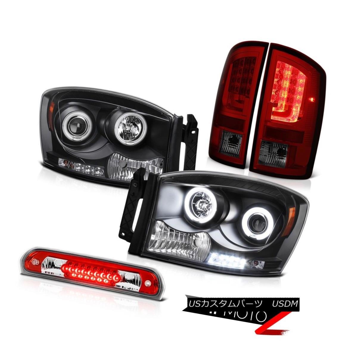 テールライト 2007-2009 Dodge Ram 1500 4.7L Red Smoke Rear Brake Lights Headlamps Third Lamp 2007-2009ダッジラム1500 4.7Lレッドスモークリアブレーキライトヘッドランプ第3ランプ