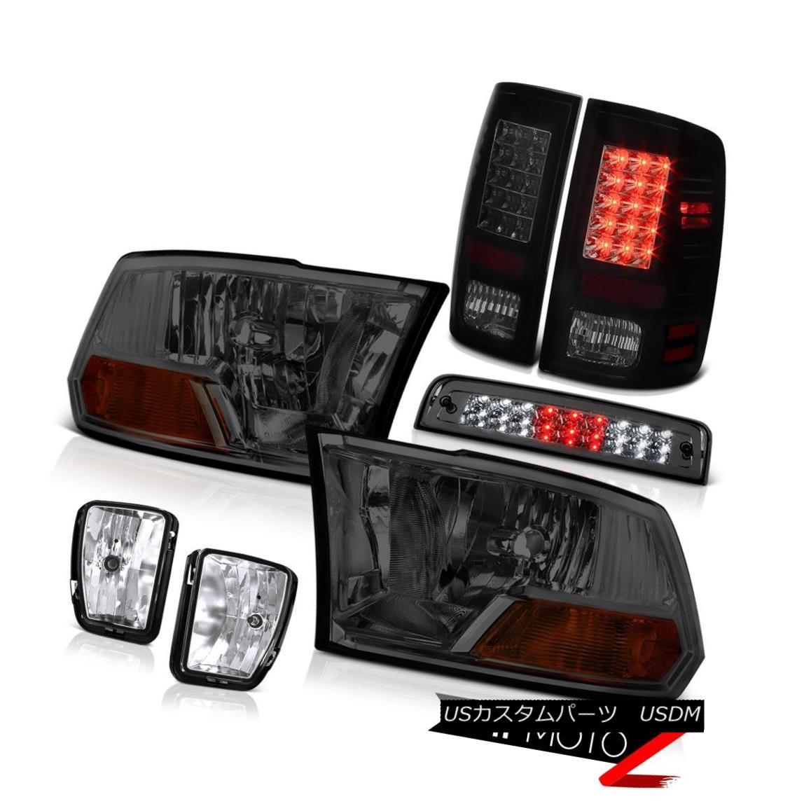 テールライト 13-18 Dodge Ram 1500 Laramie Smokey 3RD Brake Lamp Foglamps Taillamps Headlights 13-18ドッジラム1500ララミースモーク3RDブレーキランプフォグランプタイルランプヘッドライト