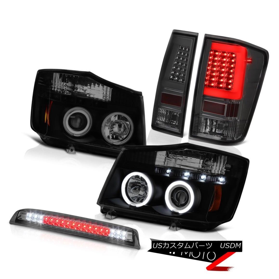 テールライト 2004-2014 For Nissan Titan Smokey Third Brake Rear Projector Head Lights L+R Set 2004-2014日産タイタンスモーキー第3ブレーキリアプロジェクターヘッドライトL + Rセット