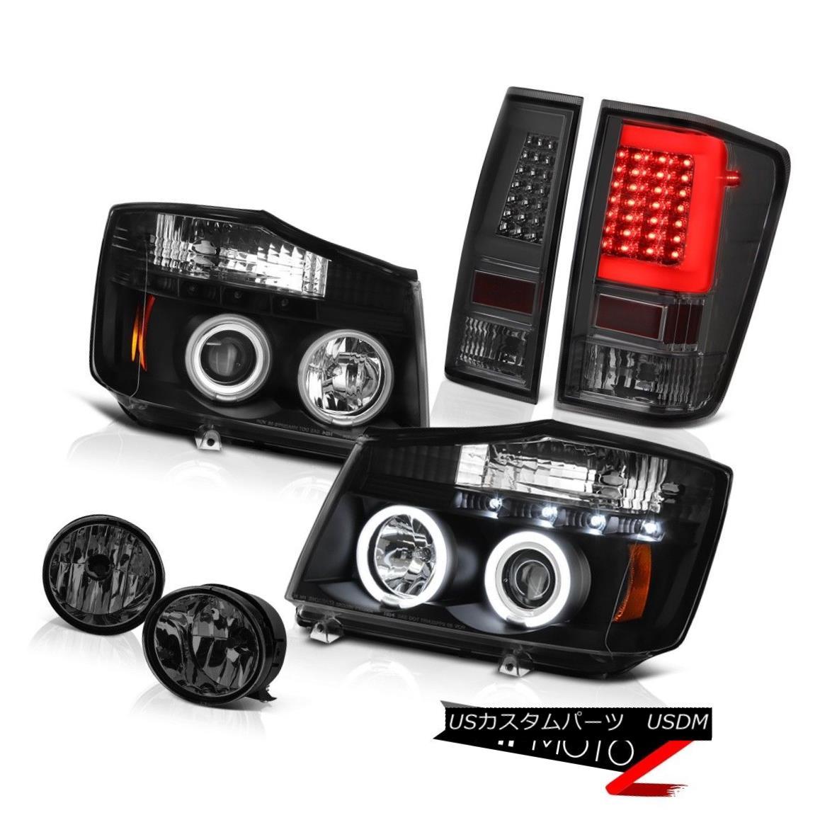 テールライト 04 05 06-14 For Nissan Titan Phantom Smoke Fog Neon Tube Tail Head Lights Set 04 05 06-14日産タイタンファントムスモークフォグネオンチューブテールヘッドライトセット