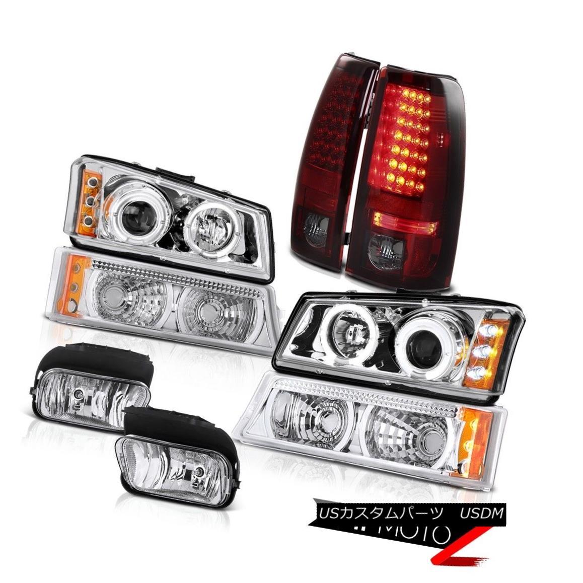 テールライト Clear Halo Angel Eye Headlights LED Rear Tail Light Foglights 03-06 Silverado LS クリアヘリオエンジェルアイヘッドライトLEDリアテールライトフォグライト03-06 Silverado LS