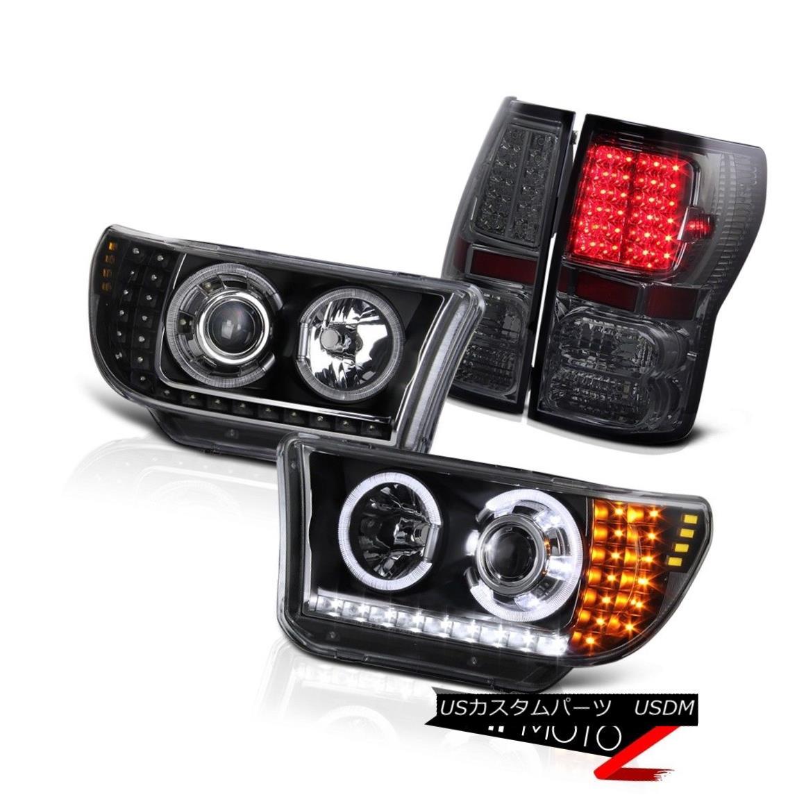 テールライト Toyota 2007-2013 Tundra LED+HALO Black Projector Headlight+Smoke Led Tail Light トヨタ2007-2013トンドラLED +ハローブラックプロジェクターヘッドライト+スモーク eテールライト