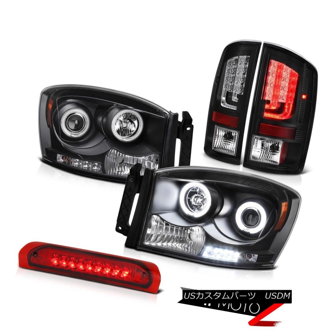 テールライト 2007-2009 Dodge Ram 3500 SLT Raven Black Tail Lamps Headlights High STop Lamp 2007-2009 Dodge Ram 3500 SLT RavenブラックテールランプヘッドライトハイSTOPランプ