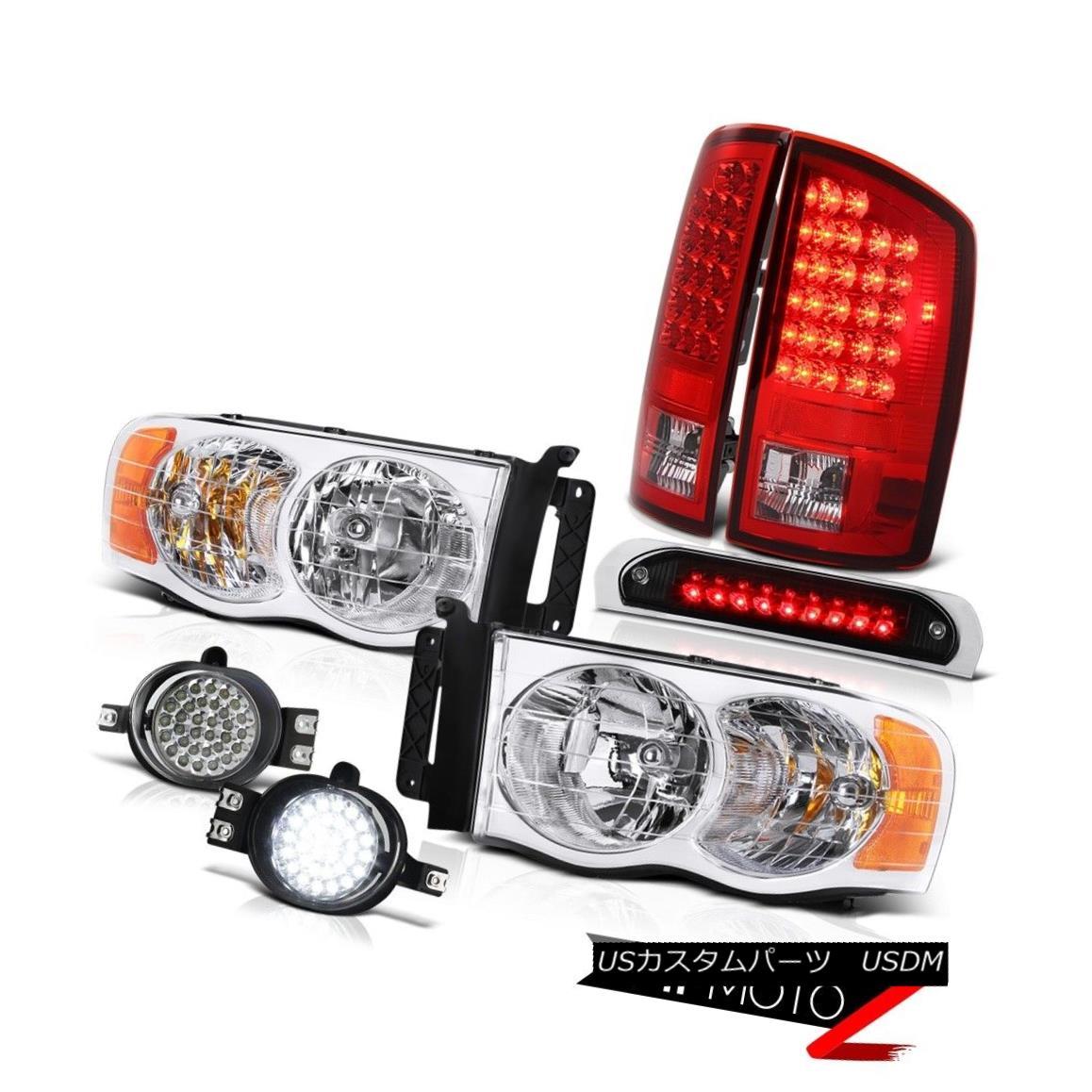 テールライト 02 03 04 05 Ram 2500 Crystal Headlight LED Tail Light Bumper Fog High Stop Black 02 03 04 05 Ram 2500クリスタルヘッドライトLEDテールライトバンパーフォグハイストップブラック