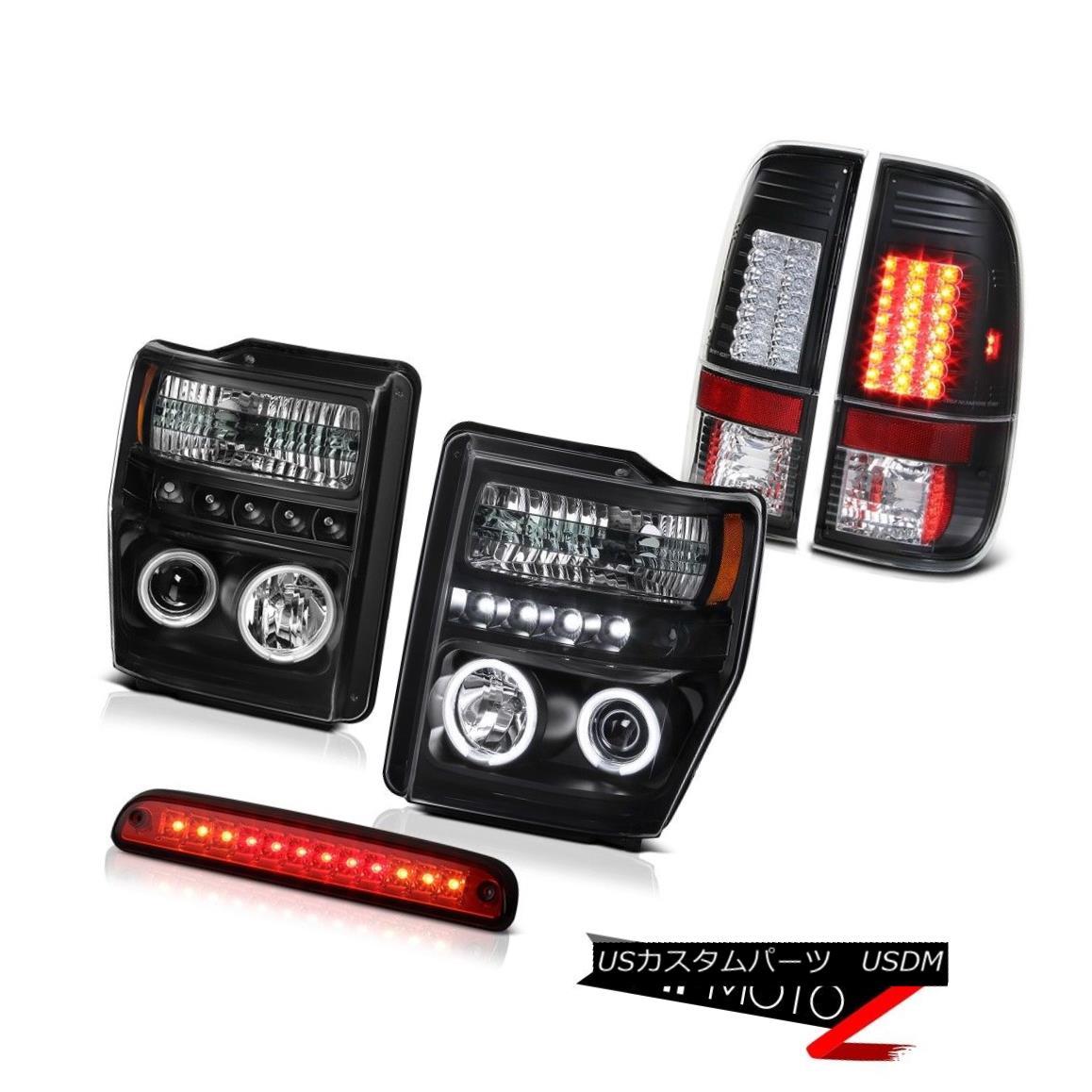 テールライト CCFL Halo Headlamps Wine Red Third Brake LED SMD Tail Lights 2008 2009 2010 F250 CCFL Haloヘッドランプワインレッド第3ブレーキLED SMDテールライト2008 2009 2010 F250