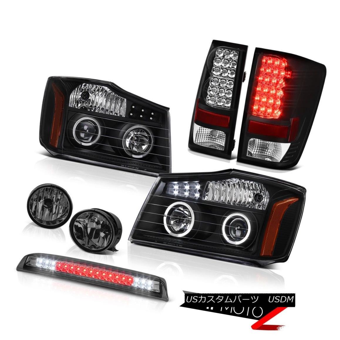 テールライト For 2004-2015 Titan SE Black LED Headlights Tail Lights Bumper Fog Roof Stop 2004年?2015年Titan SE Black LEDヘッドライトテールライトバンパーフォグ屋根止め