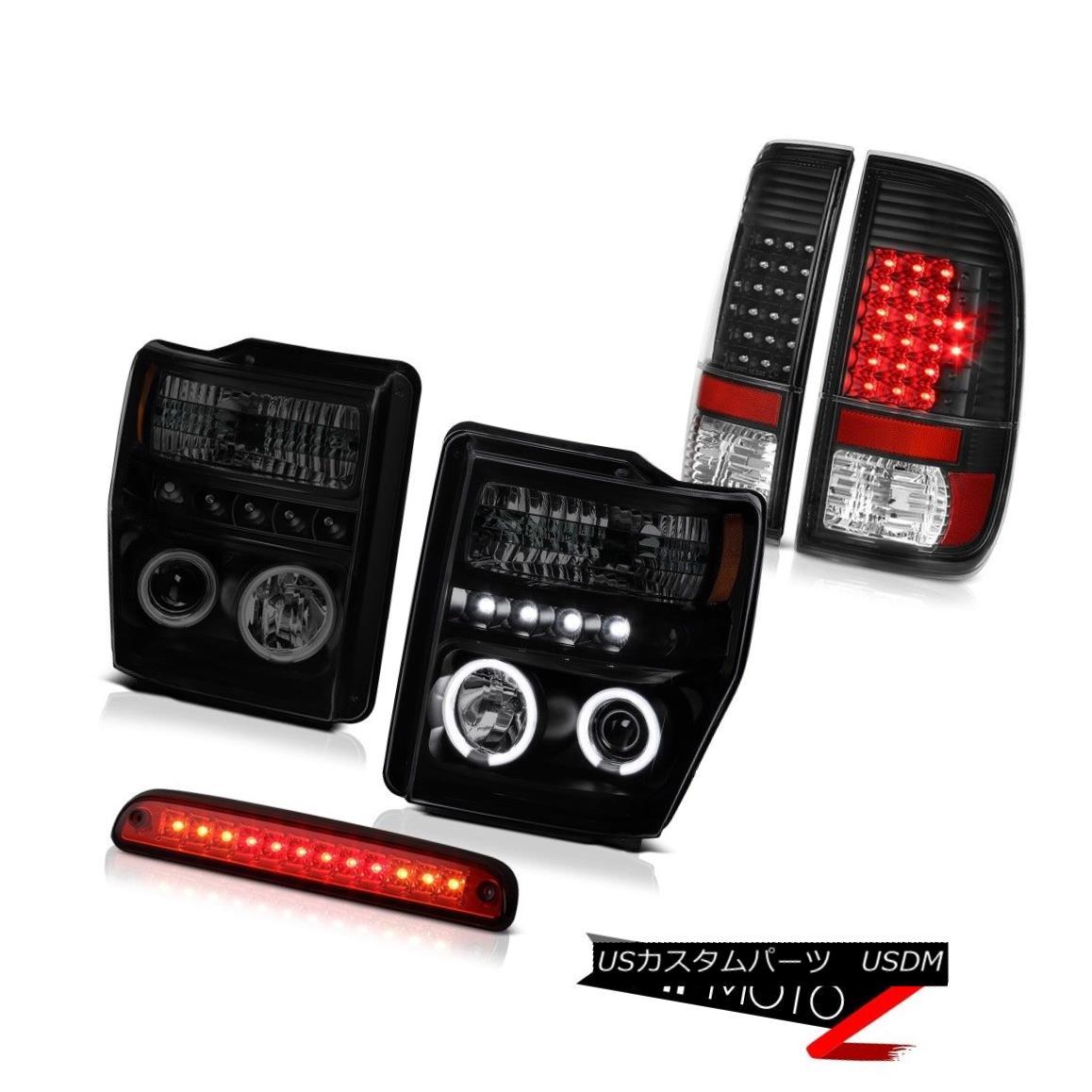 テールライト 08-10 F250 Triton V10 Sinister Black CCFL Rim Headlights Signal Tail Lights LED 08-10 F250トリトンV10シニスターブラックCCFLリムヘッドライト信号テールライトLED