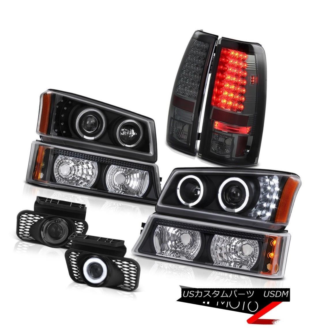 テールライト Black Angel Eye Headlights Parking Signal Bumper Smoke LED Tail Lamp DRL Foglamp ブラックエンジェルアイヘッドライトパーキング信号バンパースモークLEDテールランプDRLフォグランプ