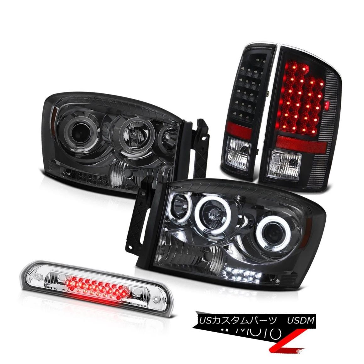 テールライト Dual CCFL Ring Headlights Black LED Tail Lights Third Brake Cargo 07 08 Ram WS デュアルCCFLリングヘッドライトブラックLEDテールライトThird Brake Cargo 07 08 Ram WS