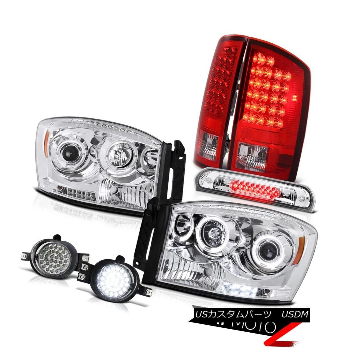 テールライト Angel Eye Projector Brake Light LED SMD Fog High Cargo 2006 Dodge Ram エンジェルアイプロジェクターブレーキライトLED SMDフォグハイカーゴ2006ドッジラム