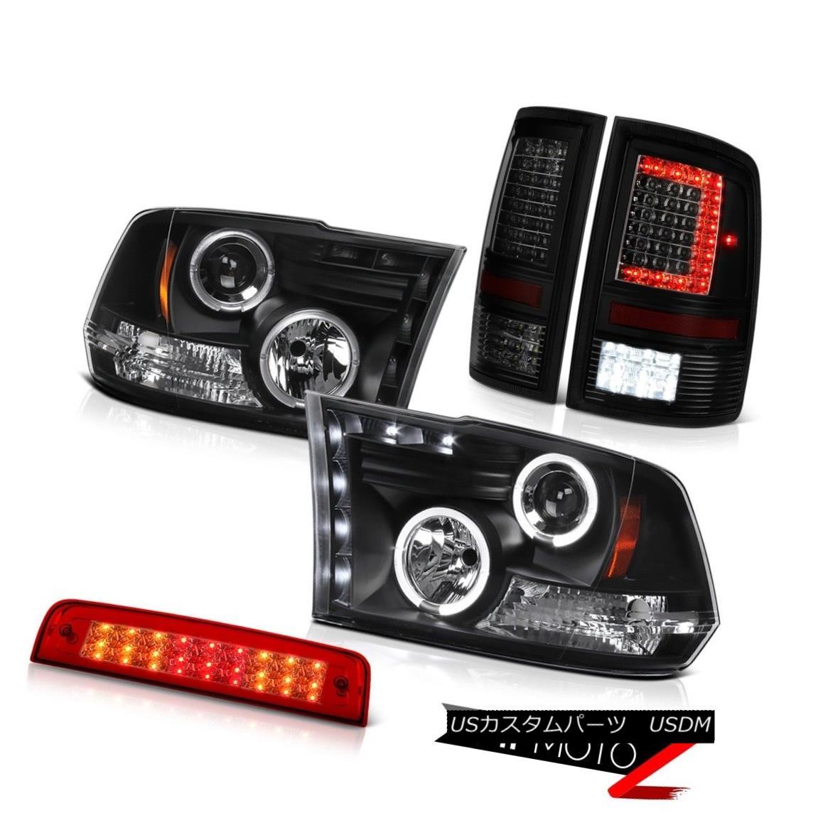 テールライト 2009-2018 Dodge RAM 1500 Tail Lights Rosso Red Third Brake Black Headlights PAIR 2009-2018ダッジRAM 1500テールライトロッソレッド第3ブレーキブラックヘッドライトペア