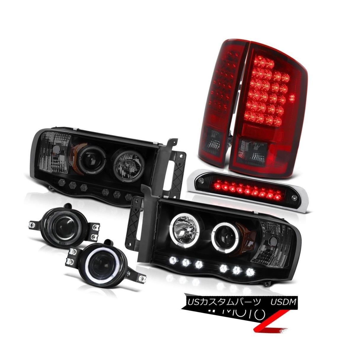 テールライト 02-05 Ram SLT Headlights Halo LED L.E.D Rear Lights Smokey Red Glass Fog Brake 02-05 Ram SLTヘッドライトHalo LED L.E.Dリアライトスモーキーレッドグラスフォグブレーキ