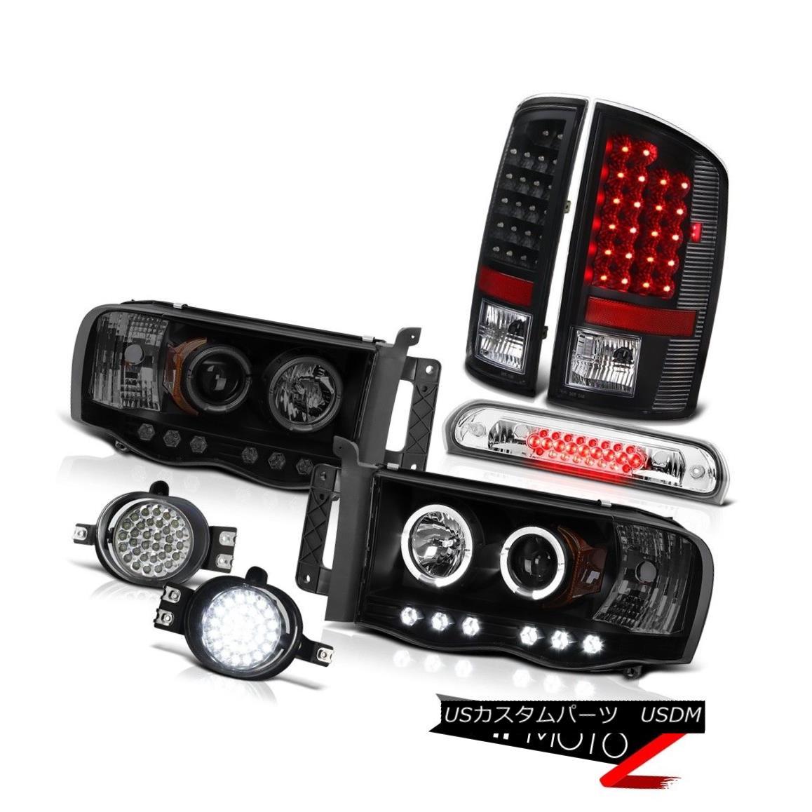 テールライト 02-2005 Ram SINSTER BLACK Headlights LED Tail Lights DRLamps Fog Roof Stop Clear 02-2005 Ram SINISTER BLACKヘッドライトLEDテールライトランプフォグルーフストップクリア