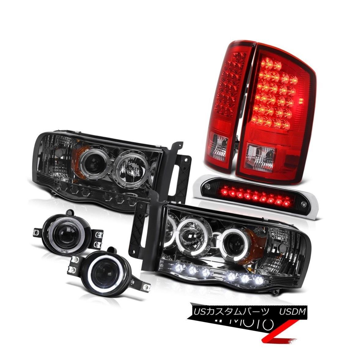 テールライト L.E.D Halo Headlights Rosso Red LED Tail Lights Glass Fog 3rd Cargo 02-05 Ram V8 L.E.DハローヘッドライトロッソレッドLEDテールライトグラスフォッグ3rd貨物02-05 Ram V8