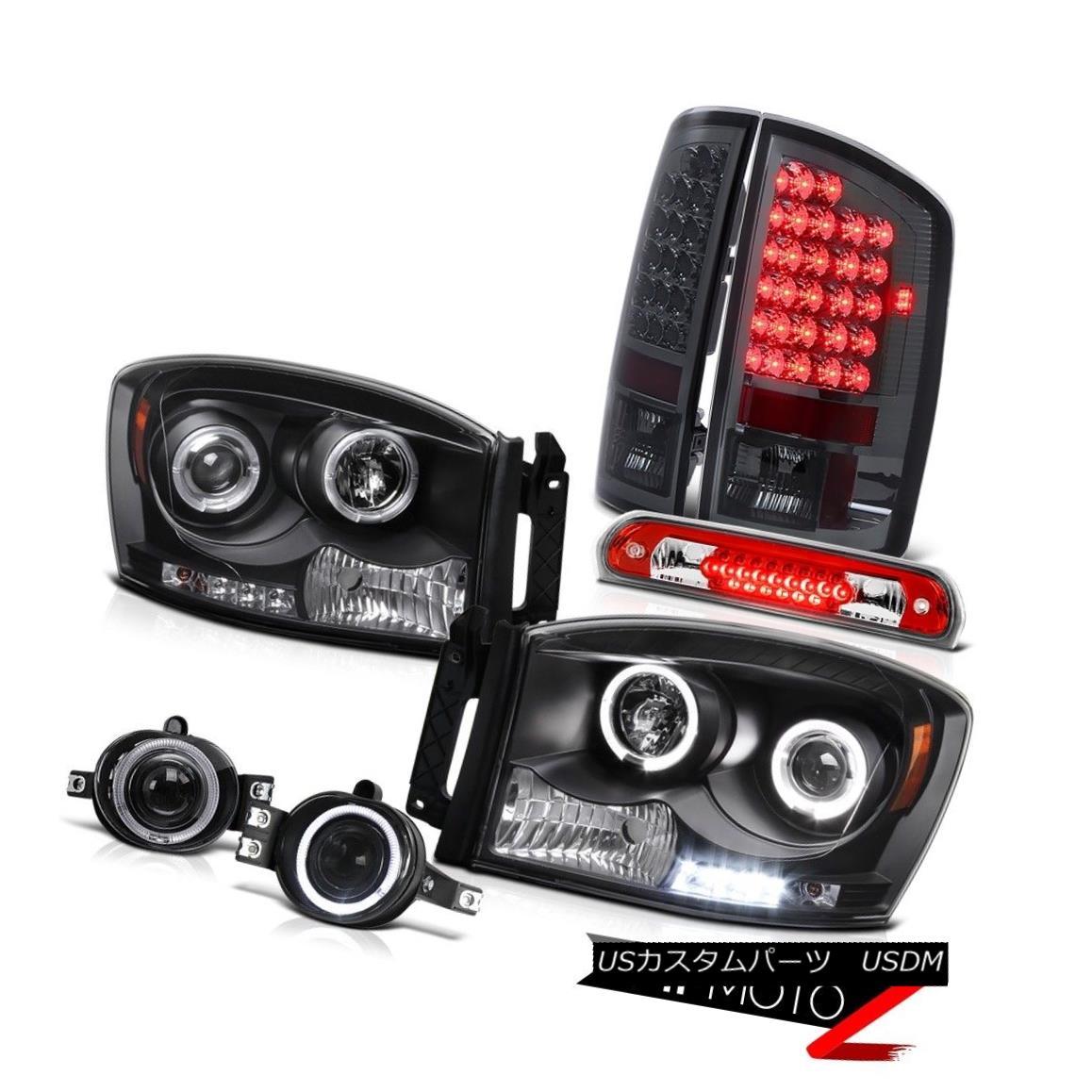 テールライト Black Halo LED Headlight Smoke Taillight Projector Fog 3rd Brake Red 2006 Ram V6 ブラックハローLEDヘッドライト煙曇りプロジェクター霧第3ブレーキ赤2006ラムV6