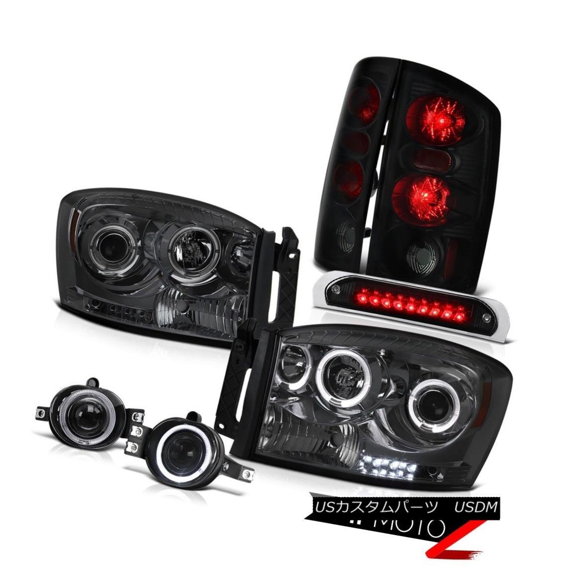 テールライト 2006 Ram 2500 Pair Smoke Halo Headlights Taillights Sinister Black Fog Brake LED 2006 Ram 2500 Pair Smoke HaloヘッドライトテールライトSinister Black FogブレーキLED