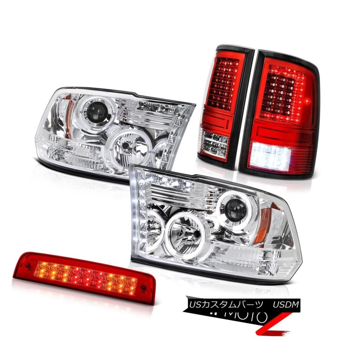 テールライト 09-14 15-18 Dodge RAM 2500 Wine Red Tail Lights 3rd Brake Chrome Headlight SET 09-14 15-18ダッジRAM 2500ワインレッドテールライト3rdブレーキクロームヘッドライトSET