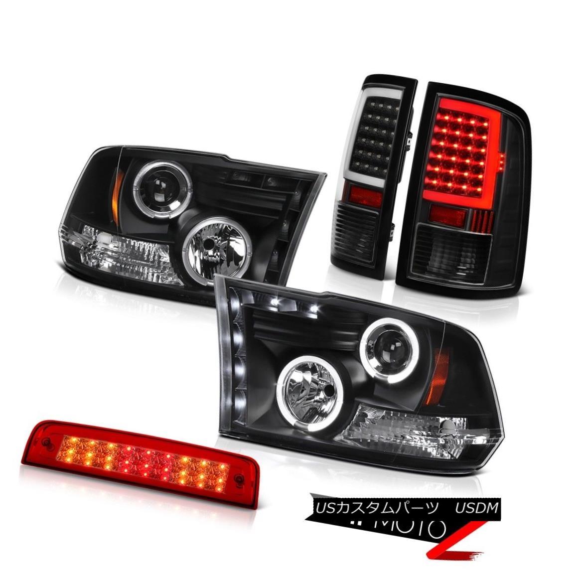 テールライト 09-14 15-18 Dodge RAM 3500 Black Tail Lights Third Brake Headlight Assembly PAIR 09-14 15-18ダッジRAM 3500ブラックテールライトThird Brake Headlight Assembly PAIR