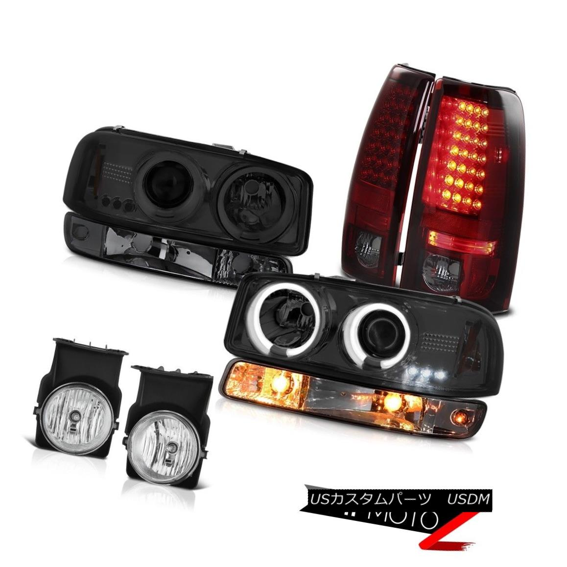 テールライト 03-06 GMC Sierra Foglamps smoked red smd tail lamps bumper light ccfl Headlamps 03-06 GMC Sierra Foglampsは赤いsmdテールランプのバンパーライトを吸ったccflヘッドランプ