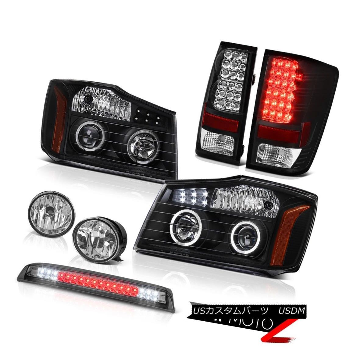 テールライト For 2004-2015 Titan Black Headlight Taillight SMD Halo Bumper Fog High LED Smoke 2004年?2015年タイタンブラックヘッドライトテールライトSMDハローバンパーフォグハイLED煙