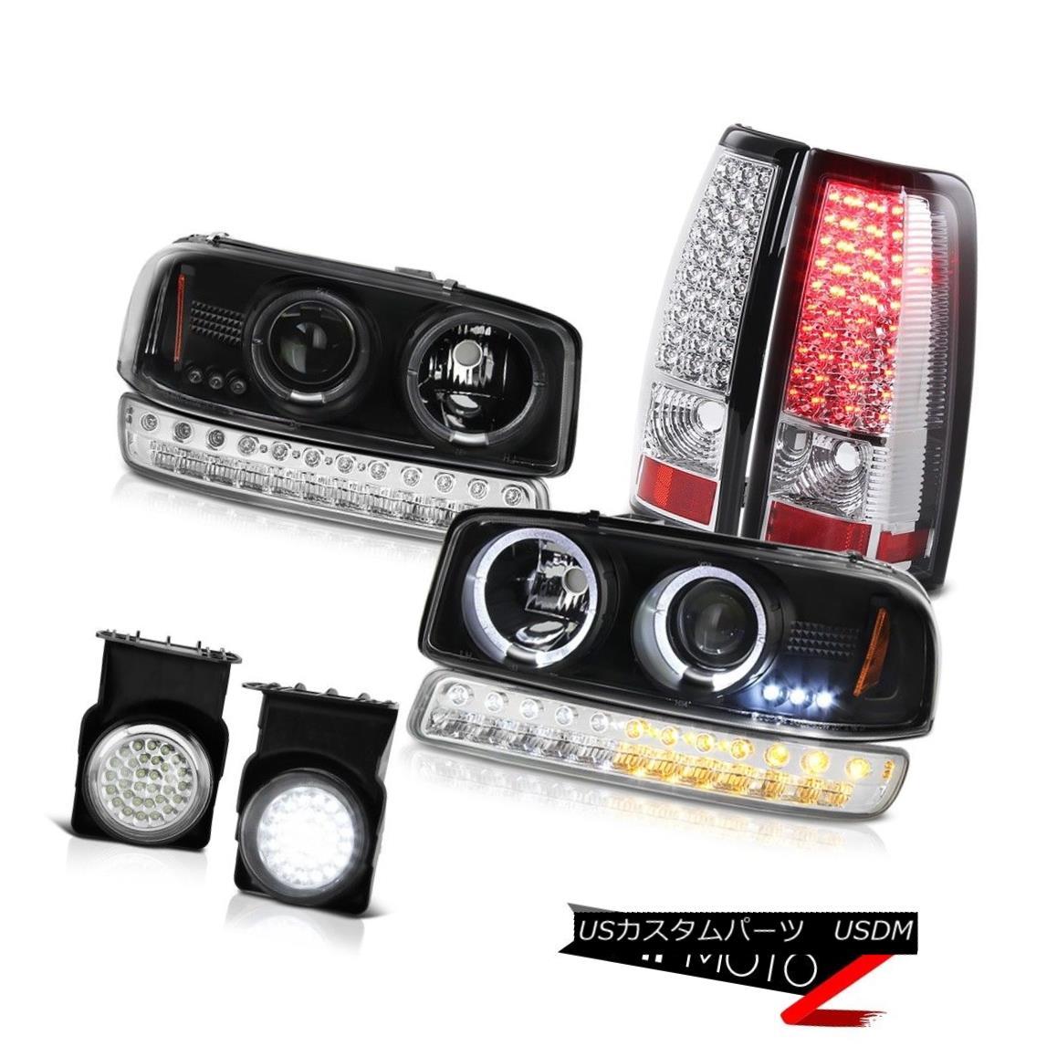 テールライト 03-06 Sierra 2500 Fog Lights Rear Brake Lamps Turn Signal Matte Black Headlights 03-06 Sierra 2500フォグライトリアブレーキランプターンシグナルマットブラックヘッドライト