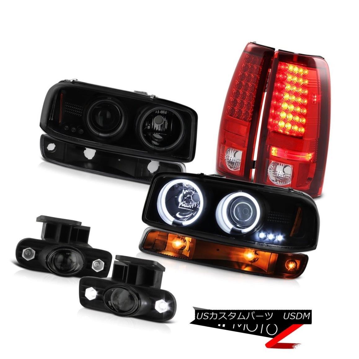 テールライト 99-02 GMC Sierra Fog lights led tail inky black signal light ccfl Headlamps LED 99-02 GMCシエラフォグライトは、テールインキーブラック信号ライトccflヘッドライトLEDをled