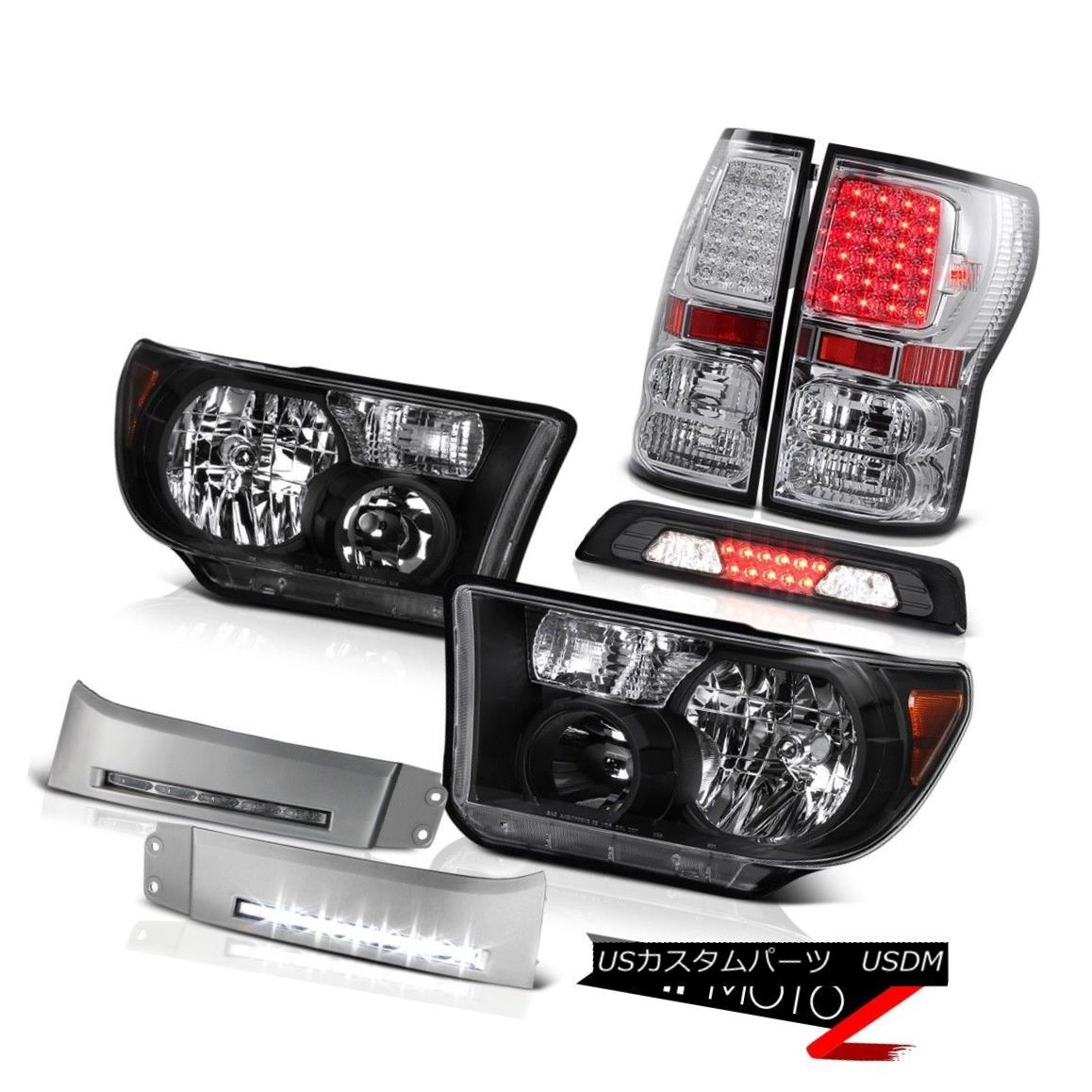 テールライト 07-13 Toyota Tundra Platinum Black Headlights DRL Strip Roof Cab Light Taillamps 07-13トヨタ・トンドラ・プラチナブラックヘッドライトDRLストリップルーフキャブライト・タイルランプ