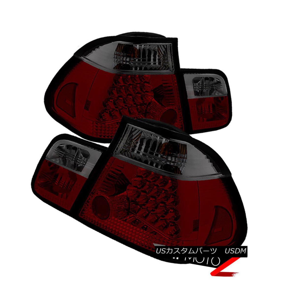 テールライト BMW E46 3-Series 2002-2005 4DR RED SMOKE Tail Light LED Signal Brake Pair LH RH BMW E46 3シリーズ2002-2005 4DR RED SMOKEテールライトLEDシグナルブレーキペアLH RH