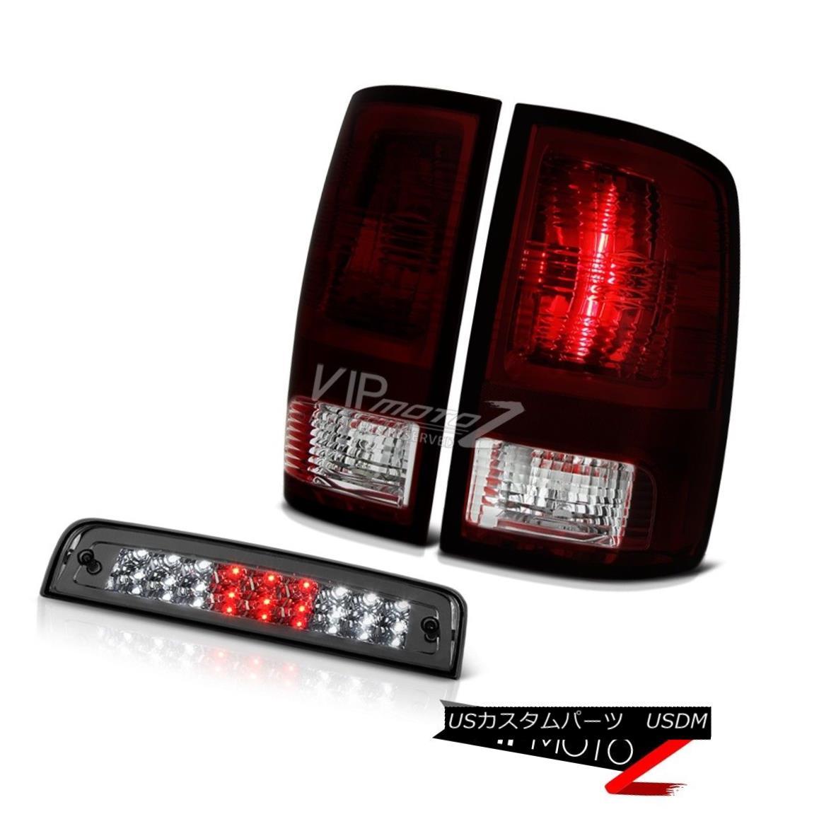 テールライト 09-18 Dodge Ram 1500 Big Horn Third Brake Light Smoked Red Tail Lights LED SMD 09-18ダッジラム1500ビッグホーンサードブレーキライトスモークレッドテールライトLED SMD