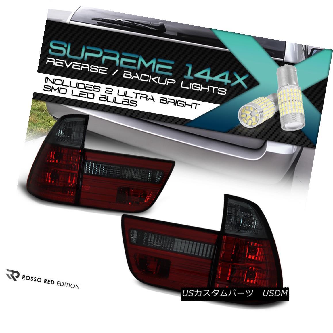 テールライト [FULL SMD BACKUP] WINE RED- 2000-2006 BMW X5 E53 Smoke Euro Tail Lamp LEFT+RIGHT [FULL SMD BACKUP]ワインレッド - 2000-2006 BMW X5 E53スモークユーロテールランプLEFT + RIGHT