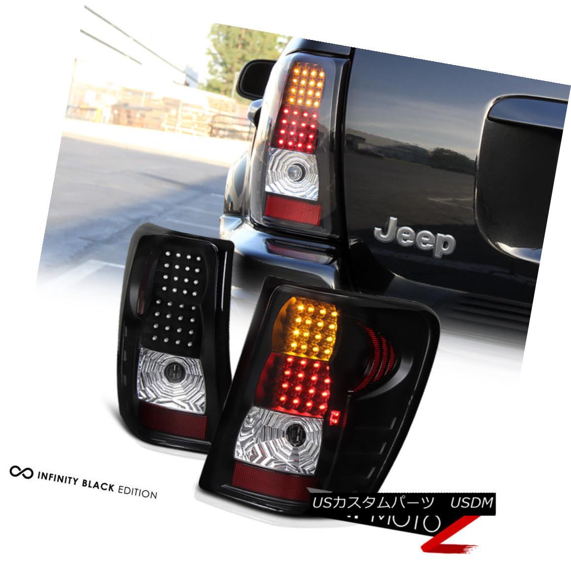テールライト 99-04 Jeep Grand Cherokee Black LED Tail Lamps Turn Signal+Brake Lights Assembly 99-04ジープグランドチェロキー黒LEDテールランプ信号+ブレーキライトアセンブリ
