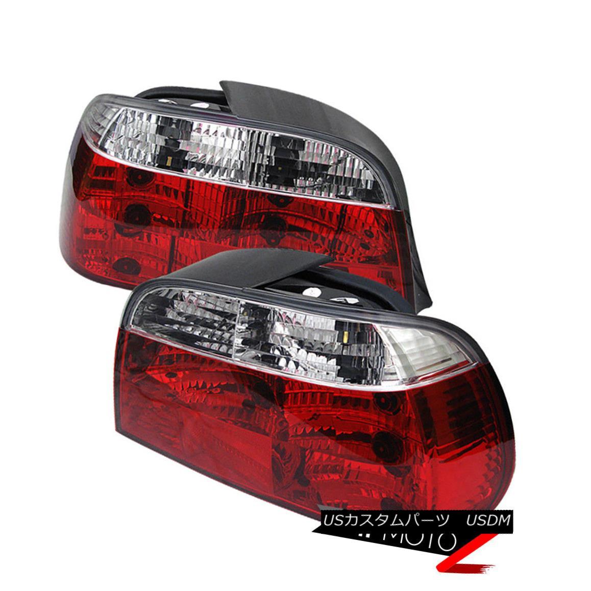 テールライト 95-01 BMW E38 7-Series $HIGH END$ Red Clear Tail Lights Lamps Rear Brake Pair 95-01 BMW E38 7シリーズ$ HIGH END $レッドクリアテールライトランプリアブレーキペア
