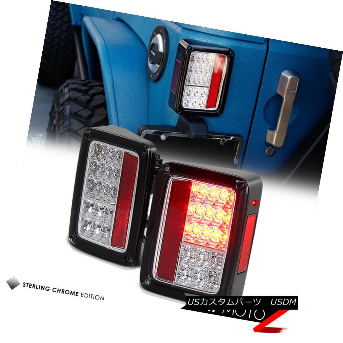 テールライト Jeep Wrangler 07-18 Left+Right Pair Chrome Led Tail Light Signal Lamp Left+Right ジープラングラー07-18左+右ペアクロームLedテールライト信号ランプ左+右